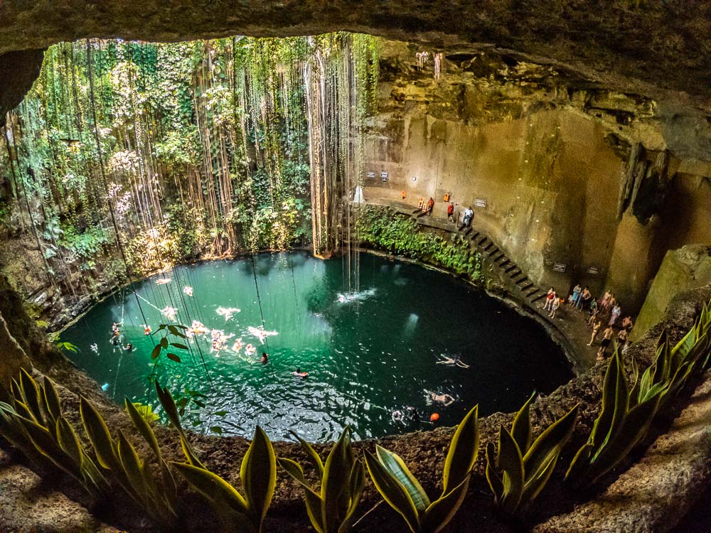 family diving in a Mexican cenote